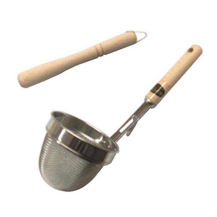 みそこしに便利なストレーナーと木製棒のセット 4年保証 万能こし器 棒付き 小 激安卸販売新品 ステンレス 味噌漉し 味噌こし