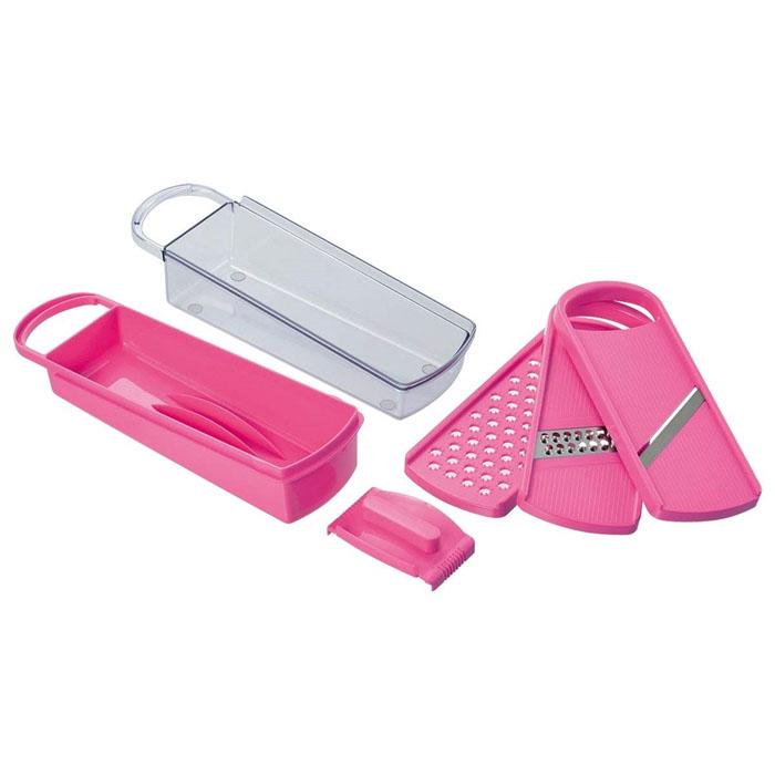 おろし器 スライサー 千切り器の調理器具セット キッチンアラモード ピンク 野菜調理器 完売 千切り 実物 おろし