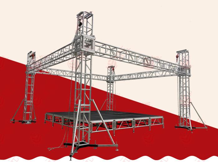 ステージ ステージセット 4x4m 朝礼台 指揮台 演台 演壇 折りたたみ アルミ 折りたたみステージセット 4段ステップ付 舞台 イベント 簡単組立 コンサート ステージ台