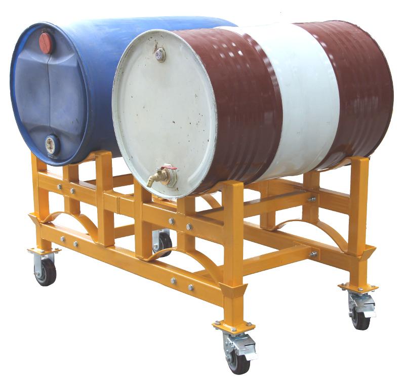 ドラムラック TY100 耐荷重1000kg ドラム缶スタンド キャリー付き ドラム缶ラック ドラム収納棚 ドラム缶2本収納 ドラム缶スタックラック ドラム缶運搬車 ドラムキャリー ドラムスタンド キャスター付き
