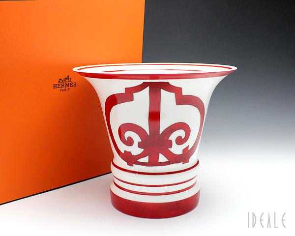 【送料無料】 エルメス(HERMES) ガダルキヴィール レッド 11054 ベース 17cm 【花瓶】