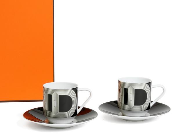 エルメス(HERMES) ラリー24 コーヒーカップ&ソーサー ブラック 100ml ペア 32017 【あす楽対応】【セット ギフト】【ラッキーシール対応】