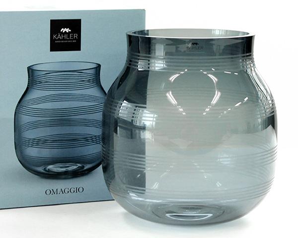 ケーラー オマジオグラス ベース S 170mm スチールブルー Kahler Omaggio Glass 【花瓶 ギフト】【ラッキーシール対応】