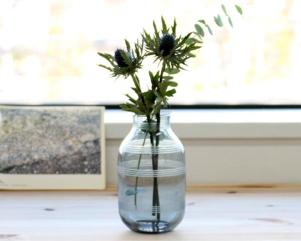 ケーラー オマジオグラス ベース ミニ 140mm スチールブルー Kahler Omaggio Glass 【花瓶 ギフト】【ラッキーシール対応】