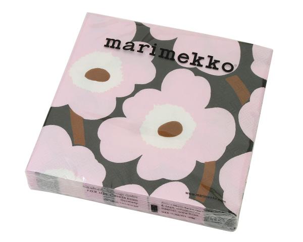マリメッコ ペーパーナプキン ウニッコ ローズ 33x33cm 20枚入り marimekko UNIKKO 【紙ナプキン】【ラッキーシール対応】