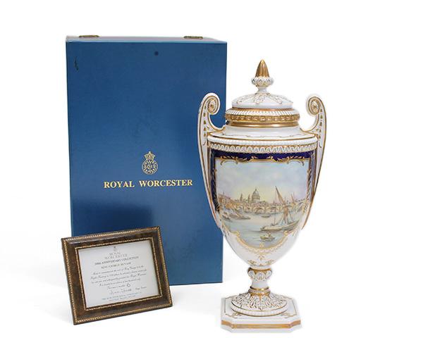 ロイヤルウースター ベース キングジョージ3世 限定品 Royal Worcester 【蓋付き 花瓶 壺】[決算セール2弾]