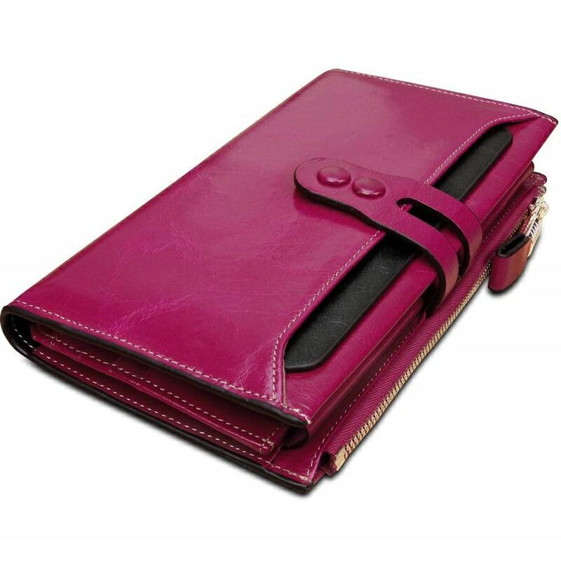 【5%オフクーポン!】長財布 ワレット レディース ブランド がま口 大人可愛い かわいい カード 大容量 Yaluxe RFIDブロッキング 通勤 三つ折り 本革 カードケース ウォレット ピンク