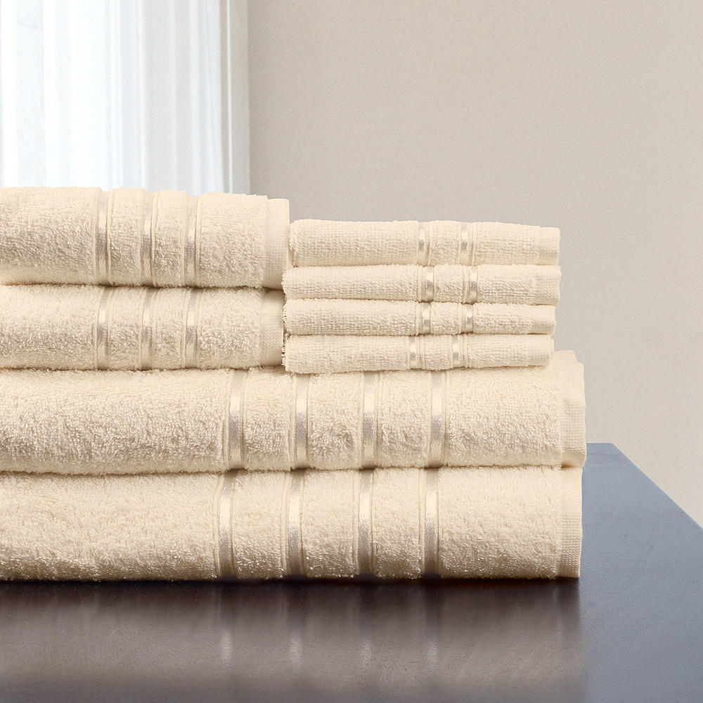 Lavish Home 豪華で高級な100%エジプトコットン 8ピースバスタオルセット ベージュ Lavish Home 8 Piece 100% Egytian Cotton Plush Bath Towel Set
