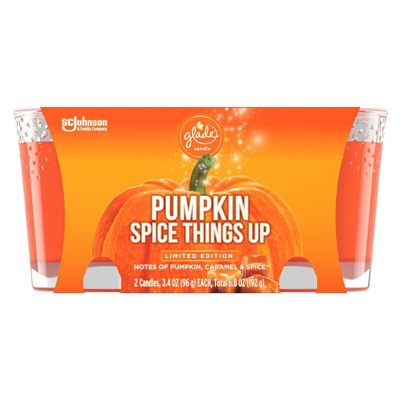 輸入 人気 おすすめ かわいいガラス容器のジャーキャンドル 素晴らしい香りが特徴 いい匂いに魅了 土 日のステイホーム応援10%オフクーポン グレード キャンドル 2個セット 秋の香り 1着でも送料無料 香り アロマキャンド CT 96g SALE開催中 Spice Jar Pumpkin 3.4 Candle Ounce x 2 ルGlade Things Up