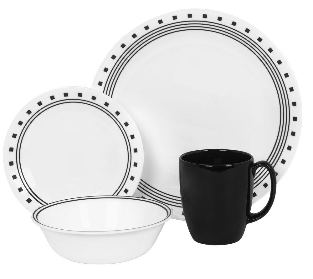 コレール Corelle 輸入 海外 食器セット 人気 リビングウェア ガラス 16-ピース ディナーウェア セット 4x4セット シティーブロック