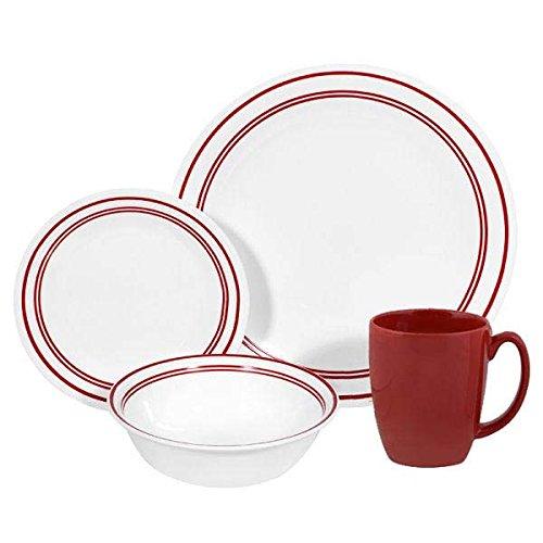 コレール Corelle 輸入 海外 食器セット 人気 リビングウェア ガラス 16-ピース ディナーウェア セット 4x4セット クラシックカフェ レッド