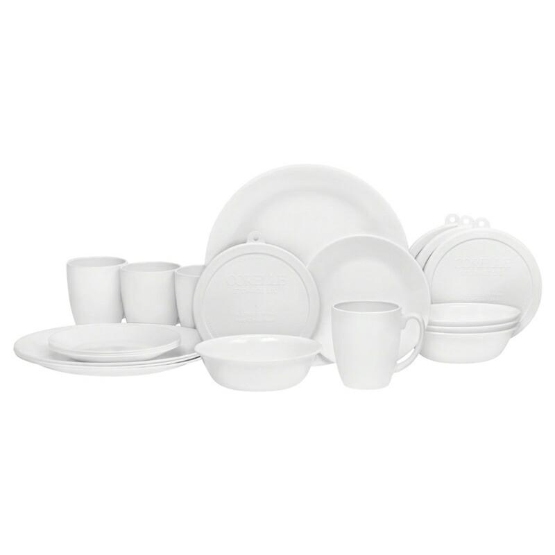 コレール Corelle 輸入 海外 食器セット 人気 リビングウェア ガラス 20ピース ディナーウェア セット 5x4セット ウインターフロスト ホワイト