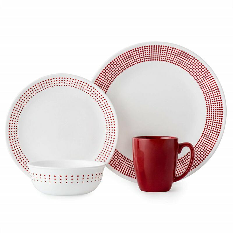 20%オフクーポン+キャッシュレス5%還元 コレール Corelle 輸入 海外 食器セット ガラス 16-ピース ディナーウェア セット Corelle 3349A Dinner Set レッド/ホワイト
