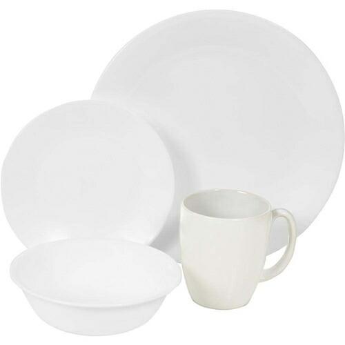コレール Corelle 輸入 海外 食器セット 人気 リビングウェア ガラス 16-ピース ディナーウェア セット 4x4セット ウインターフロスト ホワイト