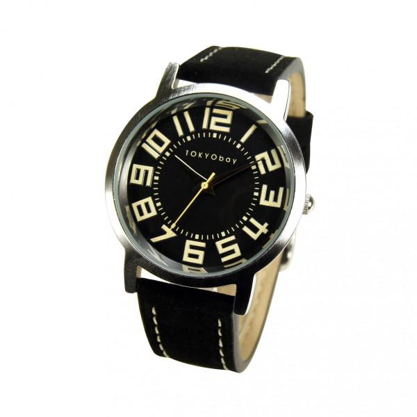 20%オフクーポン+キャッシュレス5%還元 トーキョーベイ レディース 腕時計 スタンダード アナログウォッチ T155 ラージ トラック (Black)