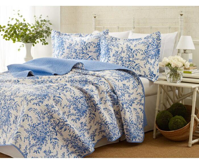 ローラアシュレイ【シングル】ベッドフォード ベッドキルトセット 青い花のデザイン マルチカバー キルト 寝具 ベッドカバー ピロケース