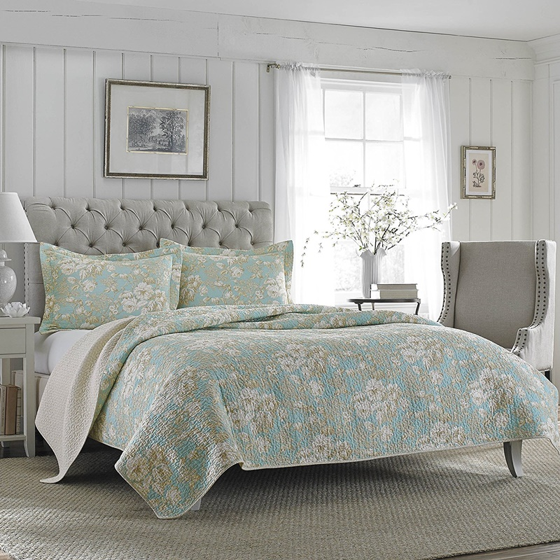 ローラアシュレイ シングル Brompton Serene ベッドキルトセット マルチカバー キルト 寝具 ベッドカバー ピロケース