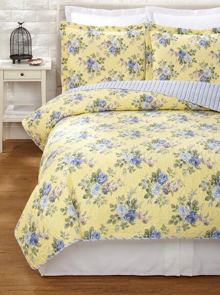 ローラアシュレイ クイーン リバーシブル ベッドキルト3点セット イエロー マルチカバー 寝具 ベッドカバー ピローケースx2