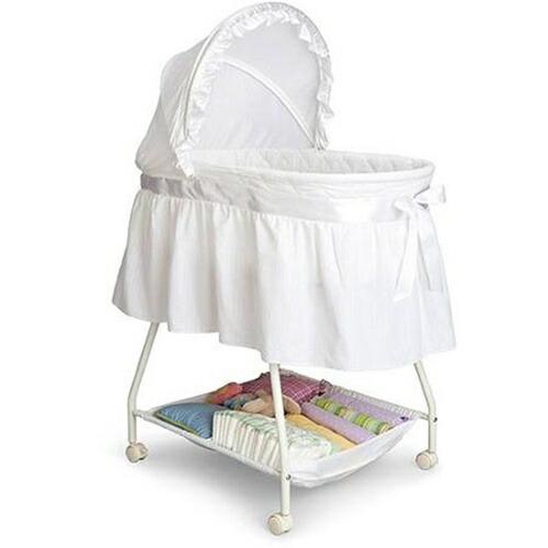 Delta Children 乳幼児用 ベビーベッド バシネット ホワイト 出産祝い Sweet Beginnings Bassinet