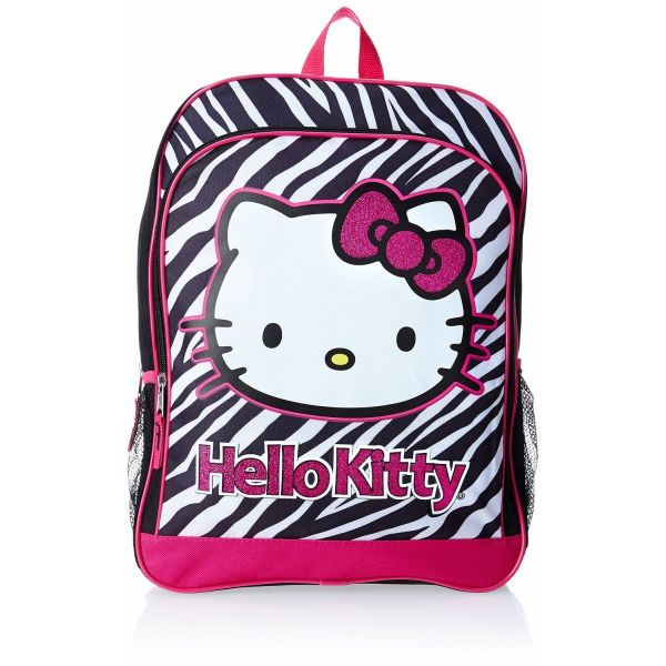 20%オフクーポン+5%キャッシュレス還元 ハローキティ [Hello Kitty] FAB スターポイント ガールズ ブラック&ホワイト ゼブラ バックパック USA直輸入品