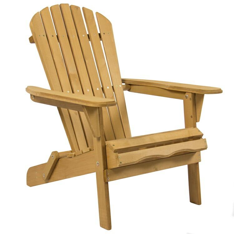【5%オフクーポン!】ガーデンチェアー デッキチェアー Outdoor Adirondack Wood Chair Foldable Patio Lawn Deck Garden Furniture