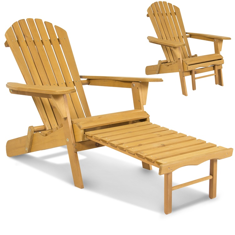 【5%オフクーポン発行中】ガーデンチェアー デッキチェアー Outdoor Adirondack Wood Chair Foldable w/ Pull Out Ottoman Patio Deck Furniture