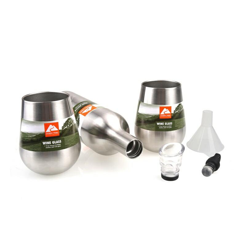 20%オフクーポン+5%キャッシュレス還元 ステンレス ワインボトルとワイングラス タンブラー オザークトレイル 二重壁 真空 断熱 Ozark Trail Wine Bottle And 2 Glass Set