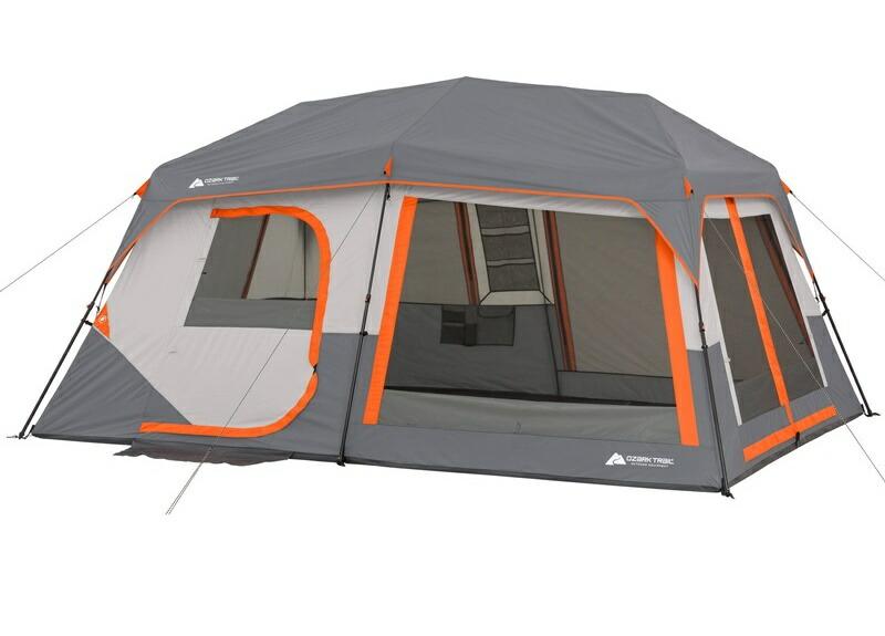 【限定クーポン11%オフ】アウトドア 輸入 テント ファミリー オザクトレイル 10人用 インスタント キャビン 2ルーム 大型 キャノピー付き Ozark Trail Instant Cabin Tent with Light