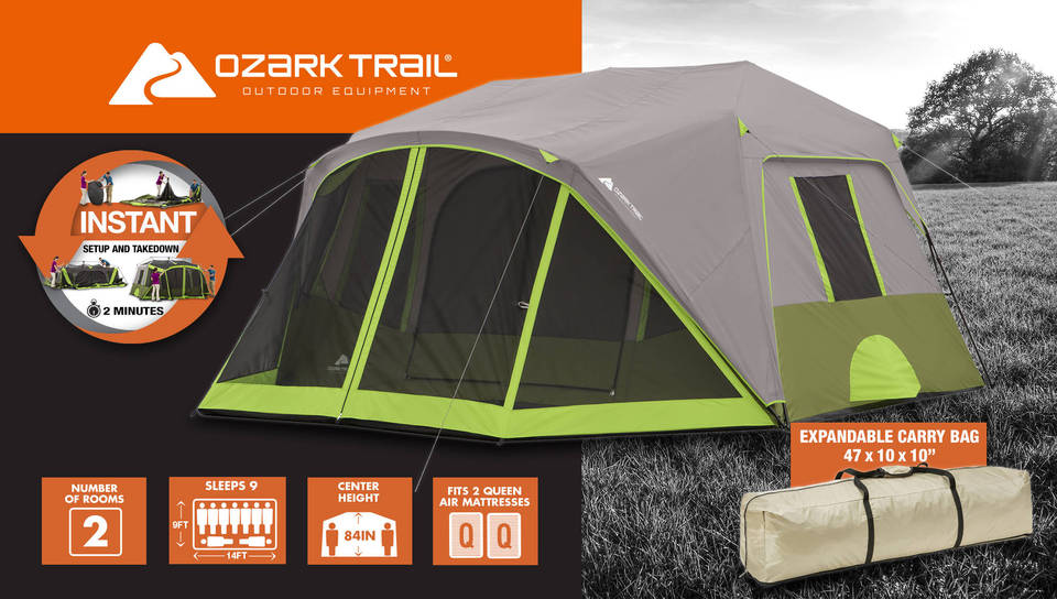 Ozark trail 9 people with cabins for instant screen room tent Ozark Trail 9 Person 2 Room Instant Cabin Tent with Screen Room : 6 person tent with screened porch - memphite.com
