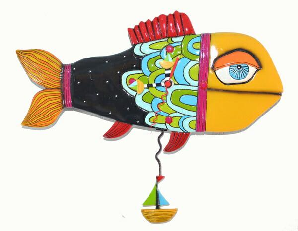 品質保証 USA直輸入 Studio!! Away デザインがとてもかわいいお魚の掛け時計 USA直輸入!! デザイン壁掛け時計 泳ぐ魚の時計 Sail Away Fish Allen Designs Studio, すづくり:2edd076f --- canoncity.azurewebsites.net