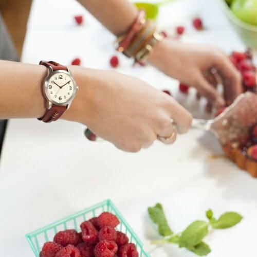 !! 东京 TOKYObay 女式手表标准模拟手表旅行者 T624RD 旅行者红 [手工制作的意大利皮革带