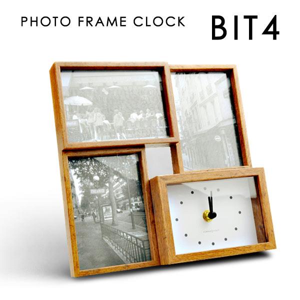 BIT4 ビットフォー 置き時計 壁掛け時計 写真立て フォトフレーム おしゃれ 木目調 アナログ インテリア レトロ あす楽