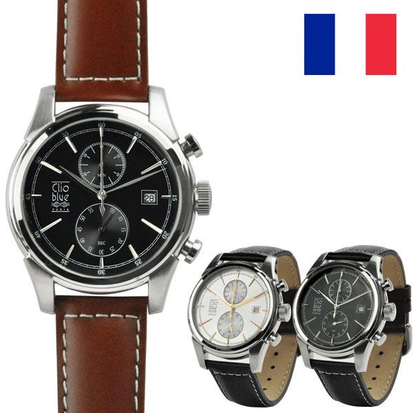 メンズ腕時計 クロノグラフ クリオブルー ストップウォッチ機能 ブランドCLIO BLUE 本革 防水 送料無料