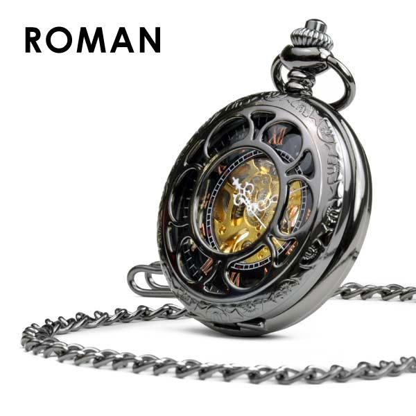 懐中時計 ローマン 機械式時計 手巻き ポケットウォッチ メンズ 時計 スケルトン アンティーク ネックレス おしゃれ