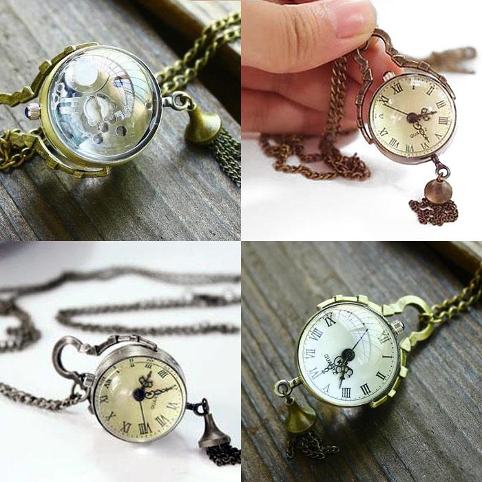 ラウンドポケットウォッチ 懐中時計 ペンダント ネックレス時計 アンティーク アクセサリー レディース レトロ