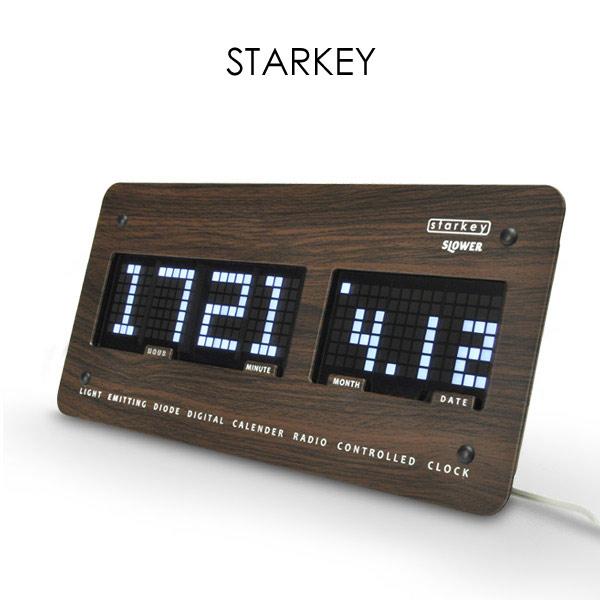 LED 電波アラームクロック STARKEY インテリア 時計 目覚まし時計 置き時計 掛け時計 デジタル 電波時計
