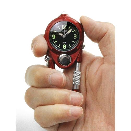 【SARUEI】カラビナ LED ウォッチ ポケットウォッチ 懐中時計 LEDライト付き アウトドア LEDキーウォッチ メンズ 時計