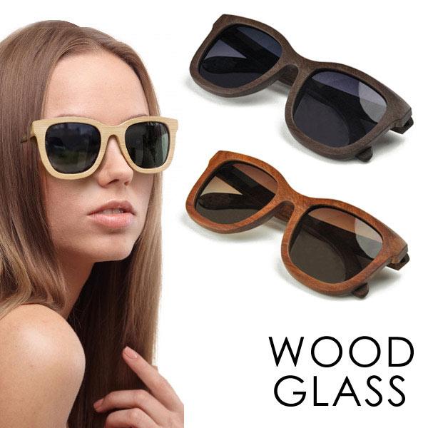 サングラス WOOD GLASS 天然木 偏光 レンズ メンズ レディース ウェリントン型 アウトドア サングラス 伊達メガネ