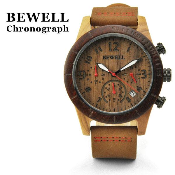 腕時計 ウッド メンズ BEWELL クロノグラフ ZS-W157A 木製 ストップウォッチ機能 レザーベルト 本革