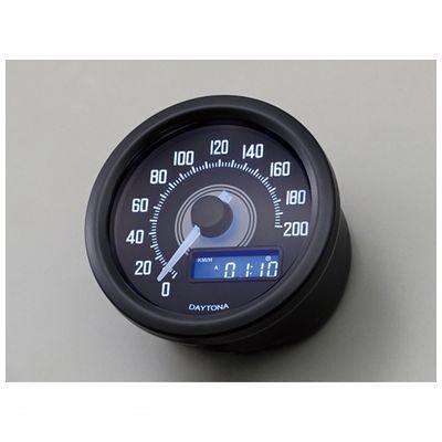 デイトナ DAYTONA 92249 VELONAスピードメーター 200km/h ブラックボディー ブラックP/ホワイトLED