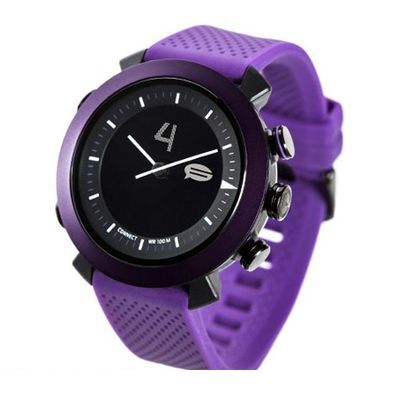 CONNECTEDEVICE 4562187616185 Bluetooth SMART対応アナログ腕時計 COGITO CLASSIC シリコンバンド パープル