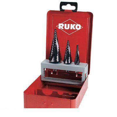 RUKO社 101026F RUKO 2枚刃スパイラルステップドリルセット 3本組 チタンアルミウム