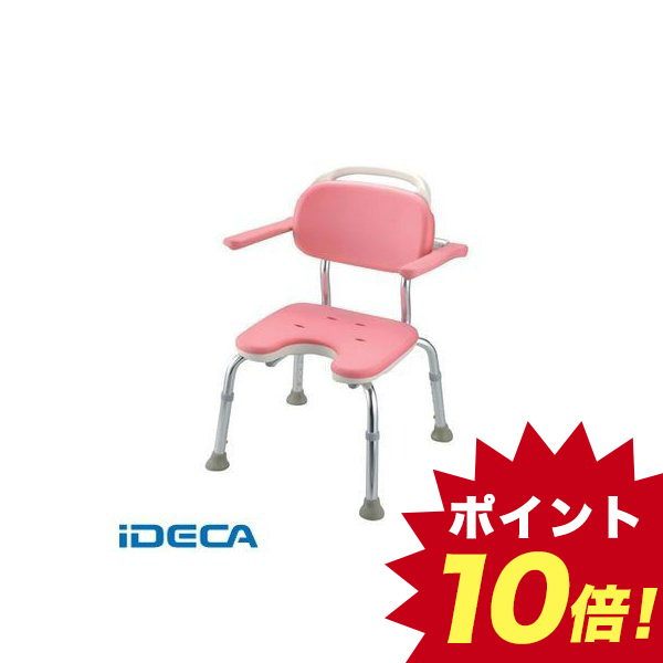 DP36398 やわらかシャワーチェア ピンク U型肘掛付コンパクト