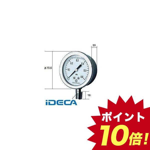 FN60516 長野計器 NKS グリセン入圧力計 60mm立型 A枠・JIS準拠品 【0.0~10.0MPa】 GV-50-173-10.0MP