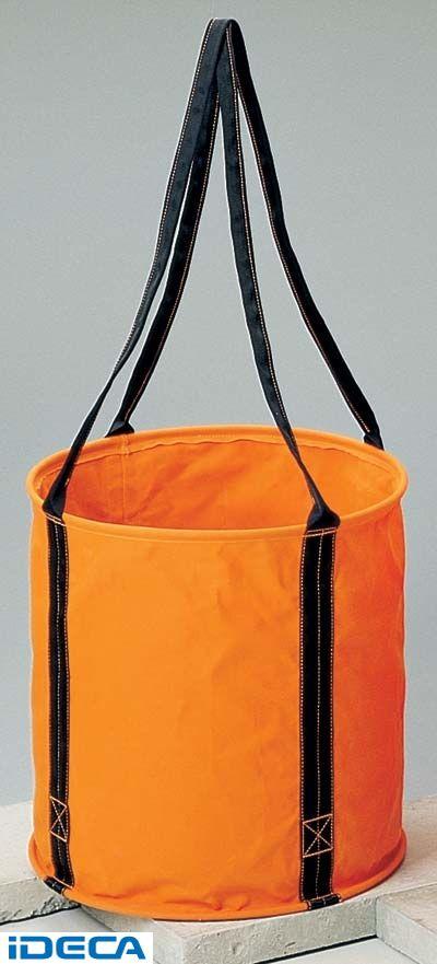 EV58220 6号 オレンジ 防水帆布 大型電工用バケツ直径50cm×高さ50cm