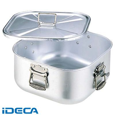 FL23973 アルミ 角 ガス炊飯鍋 蓋付 9L 5升炊