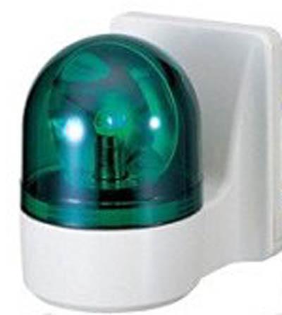 【受注生産品 納期-約1ヶ月】AP32226 壁面取付小型回転灯 緑色 ブザー パトライト