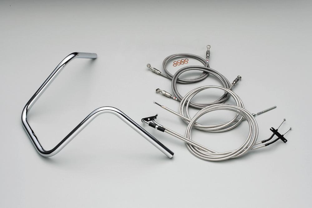 ER09641 300エイプハンガー3型ハンドルkit ステンレスメッシュケーブル