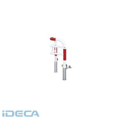 【個人宅配送不可】FR26369 直送 代引不可・他メーカー同梱不可 スチール製バリカー 横型・コノ字型・アーチ型・U字型車止めポール スタンダードタイプ φ76.3xt3.2 W500×500 H750 mm 赤白色