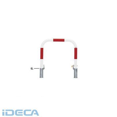 【個人宅配送不可】HW27088 直送 代引不可・他メーカー同梱不可 スチール製バリカー 横型・コノ字型・アーチ型・U字型車止めポール スタンダードタイプ φ76.3xt3.2 W1000 H800 mm 赤白色